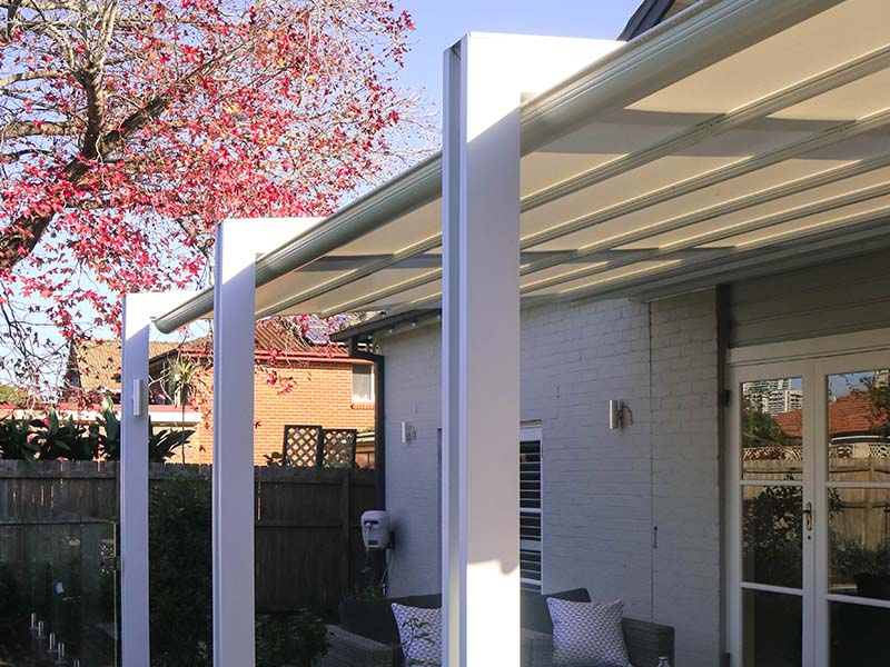 Retractable roof gives protection from the sun wind and rain