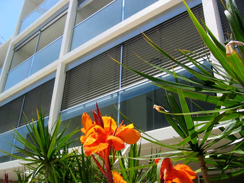 external louvres are sleek and modern shade solutions made from durable powder coated aluminium and can be fixed or operable for maximum sun protection