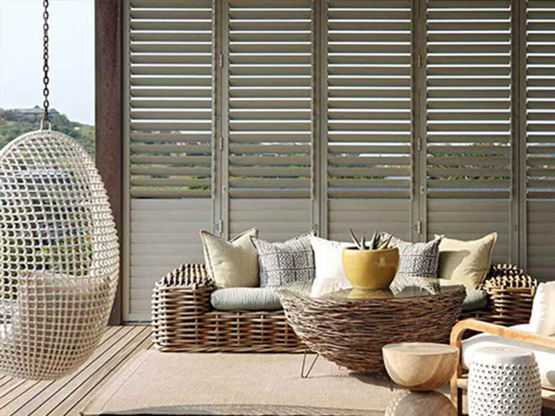 External Aluminium shutters or louvres block out sun and rain