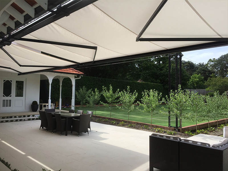 folding arm awnings shade your outdoor area without the need of posts and are completely out of sight when retracted