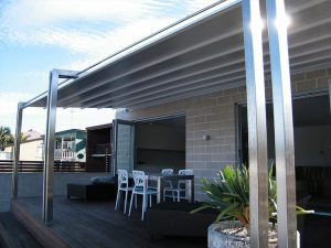 Retractable roof on stainless steel custom made dual post frame