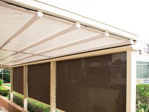 retractable weather proof awning on aluminium pergola frame