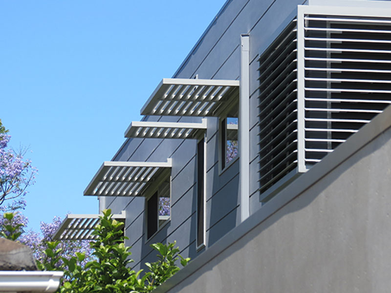 BASIX compliant with external horizontal louvres and venetians