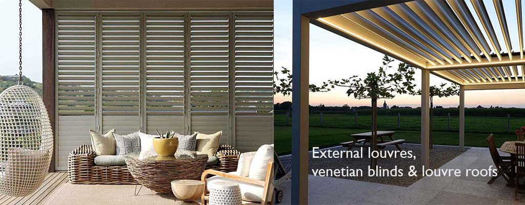 aluminium louvre shutters, venetian blinds and roofs for all weather protection