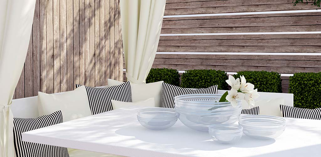 Outdoor curtains are a beautiful soft alternative to straight drop blinds