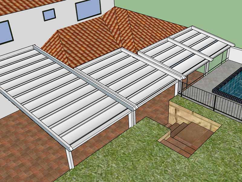 sketched design of retractable roof for family home