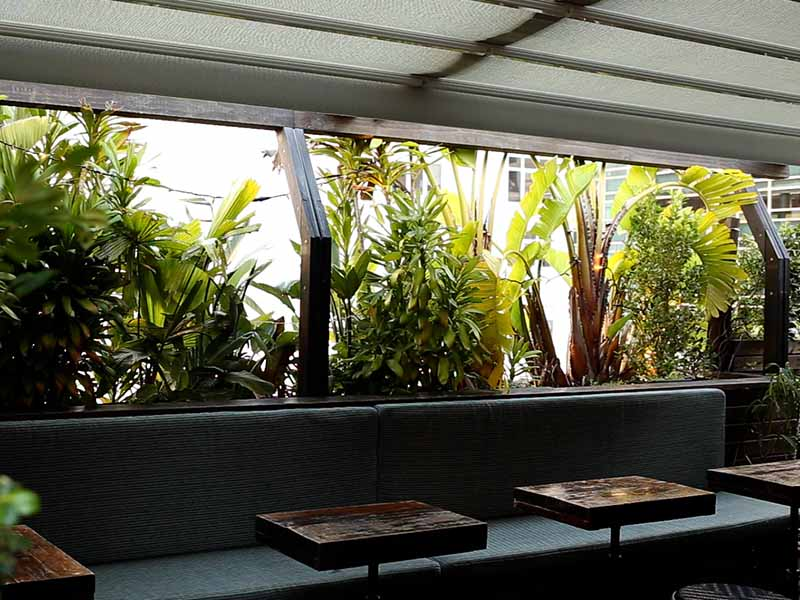 The seating situation on the rooftop bar located at Old Mates Place Sydney